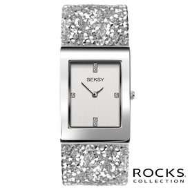 Seksy Rocks® Rhodium Plated Bracelet Watch