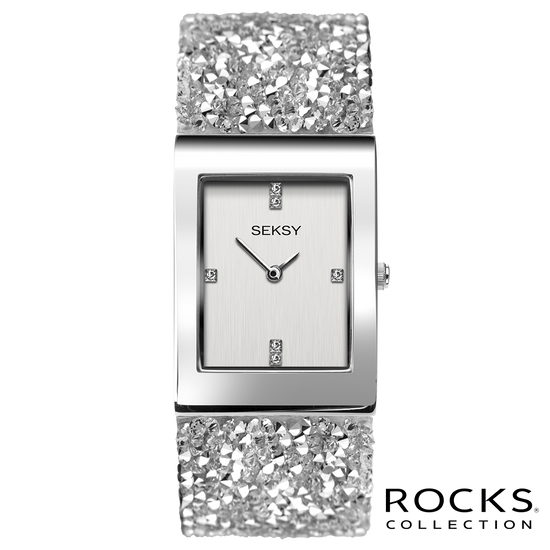Seksy Rocks® Silver Stone Set Bracelet Watch Front View