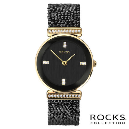 Seksy Rocks® Gold Plated Bracelet Watch front view