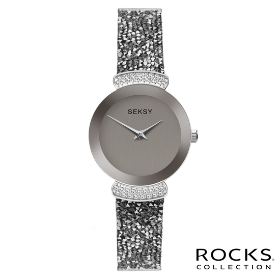Seksy Rocks® Round Silver Stone Set Bracelet Watch Front View