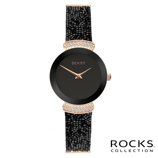 Seksy Rocks® Rose Gold Black Strap Watch Front View
