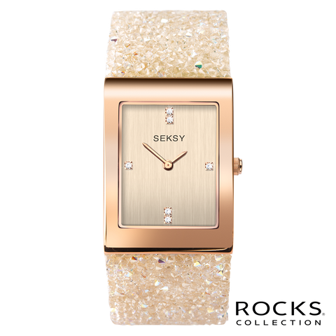 Seksy Rocks® Rose Gold Plated Bracelet Watch Front View