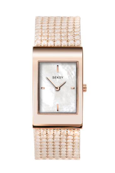 Seksy Shimmer Women's Rose Gold Plated Bracelet Watch