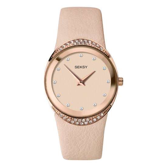 Seksy Beige Leather Strap Watch