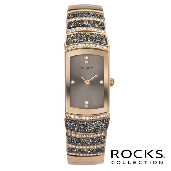 Seksy Rocks® Rectangular Rose Gold Plated Stone Watch Front View