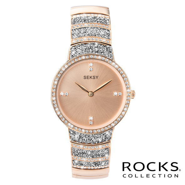 Seksy Rocks® Rose Gold/Silver Plated Bracelet Watch Front View