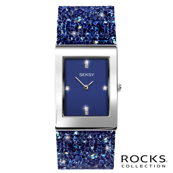 Seksy Rocks® Blue Stone Set Bracelet Watch Front View