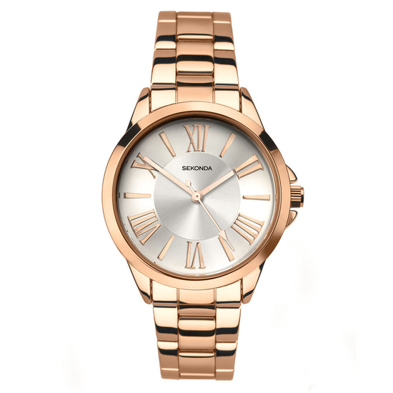 Sekonda Editions Women's Rose Gold Plated Bracelet Watch Front View