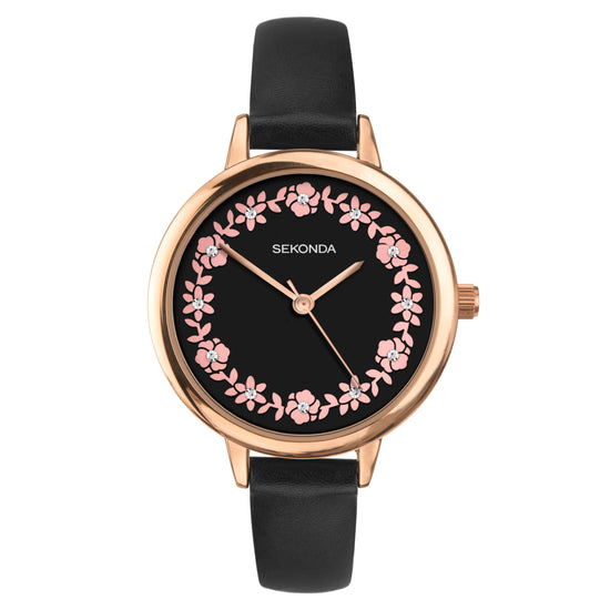 Sekonda Editions Women's Black Strap Watch Front View