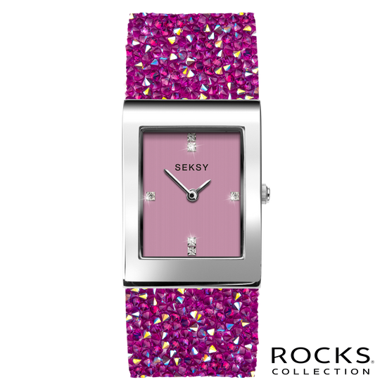 Seksy Rocks® Pink Stone Set Bracelet Watch