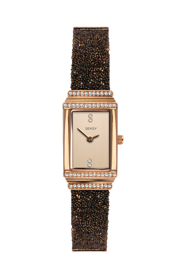 Seksy Women's Rose Gold Plated Brown Crystal Fabric Watch