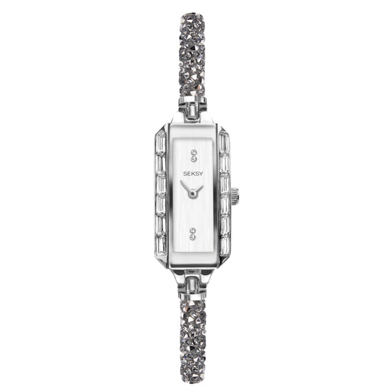 Seksy Rocks® Rectangular Sparkling Stone Set Bracelet Watch
