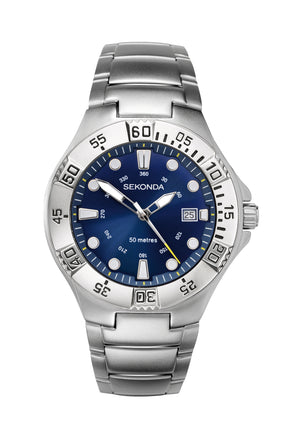 Sekonda Men's Blue Dial Stainless Steel Bracelet Watch