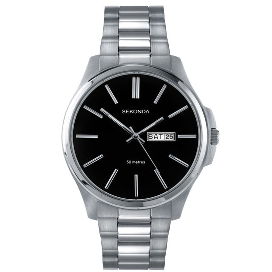 Sekonda Men's Classic Stainless Steel Bracelet Watch Black Dial 3381 Front View
