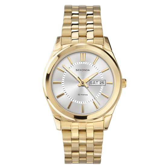 Sekonda Men's Classic Gold Plated Bracelet Watch Front View