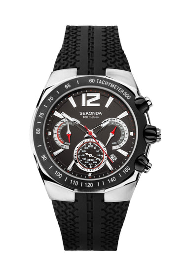 Sekonda Men's Black Strap Chronograph Watch