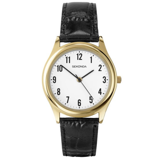 Sekonda Men's Classic Leather Strap Watch Front View