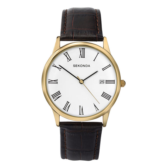Sekonda Men's Classic Leather Strap Watch - 3676 Front View