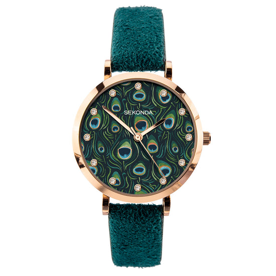 Sekonda Editions Women's Green Peacock Strap Watch