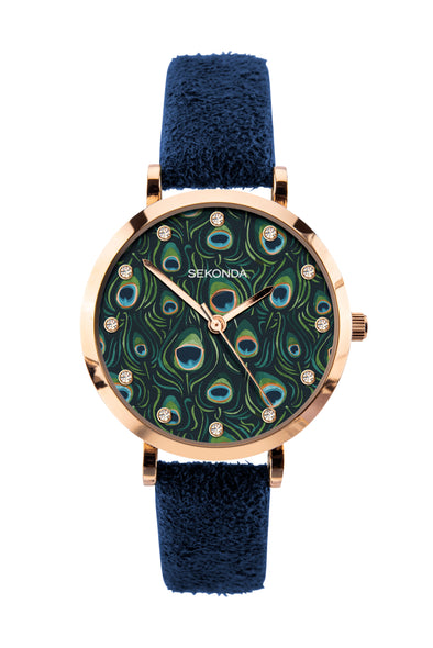 Sekonda Editions Women's Dark Blue Peacock Strap Watch