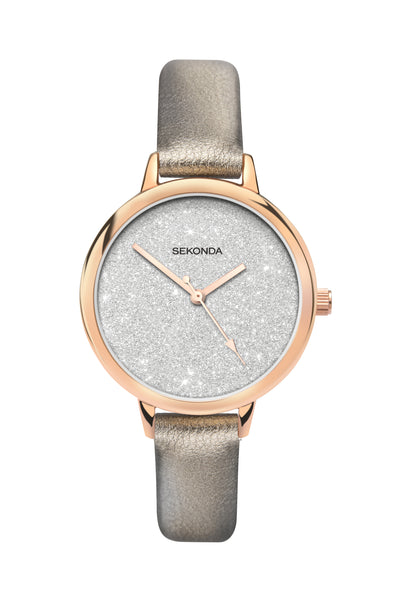 Sekonda Editions Women's Glitter Dial Bronze Strap Watch