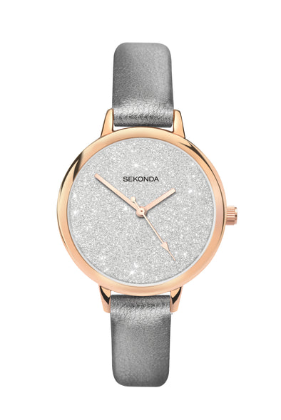 Sekonda Editions Women's Glitter Dial Grey Strap Watch