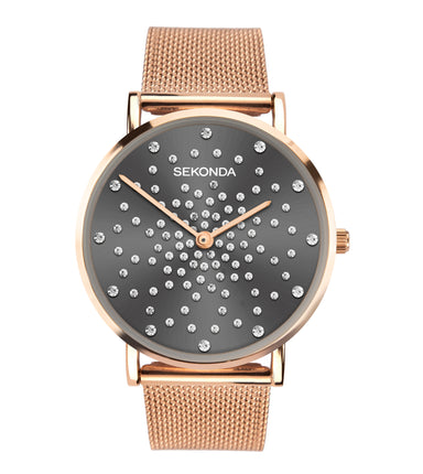 Sekonda Editions Women's Grey Stone Set Bracelet Watch