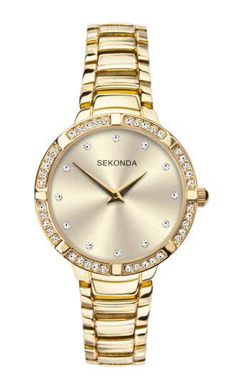 Sekonda Women's Gold Plated Stone Set Bracelet Watch