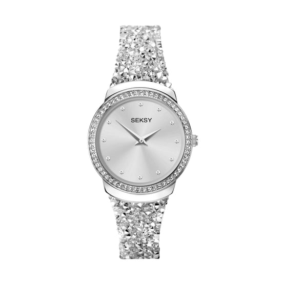 Seksy Rocks® Silver Crystal Bracelet Watch