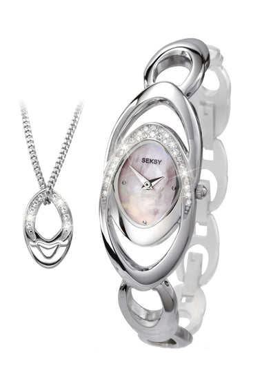 Seksy Women's Mother of Pearl Dial 2 Piece Gift Set
