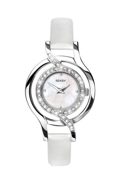 Seksy Women's White Leather Strap Watch