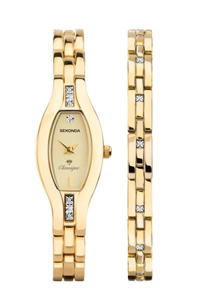 Sekonda Women's Gold Plated 2 Piece Gift Set