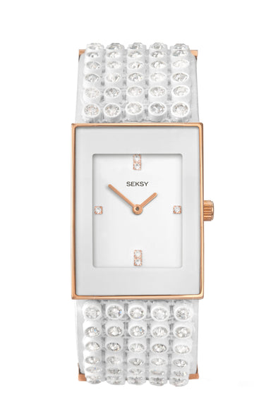 Seksy Women's White Stone Set Bracelet Watch