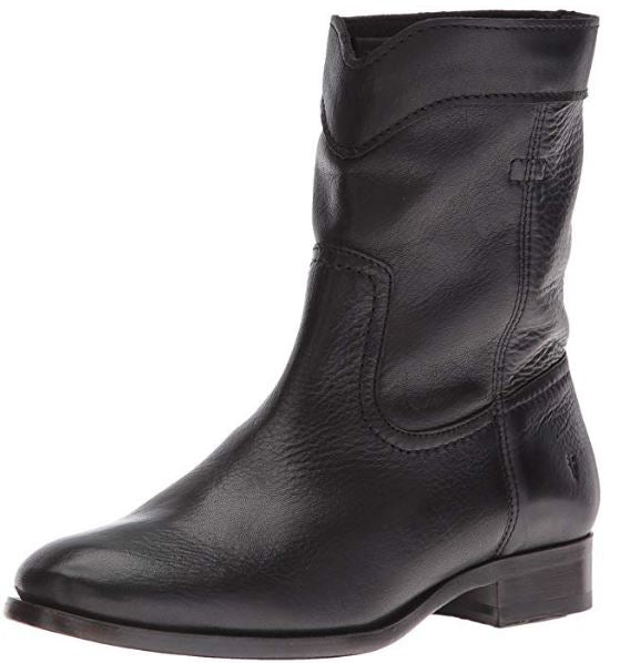 Frye Leather Pull On Ankle Boots Cara Roper Short Black