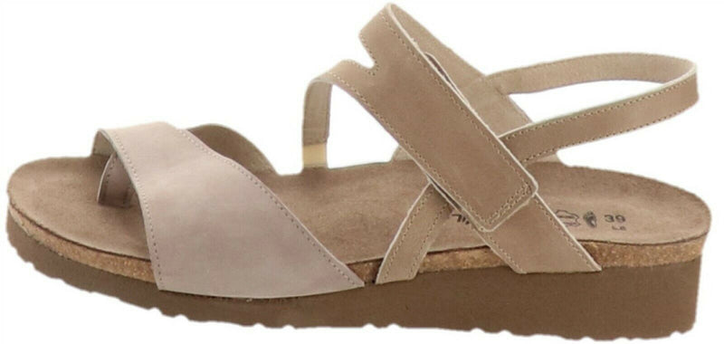 Naot Nubuck Leather Backstrap Wedge Sandals Blaire Stone - NEW