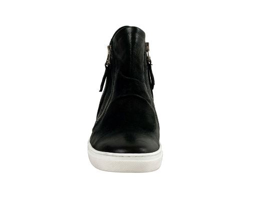 Miz Mooz Leather Zip-Up Sneakers Lulu Black - NEW