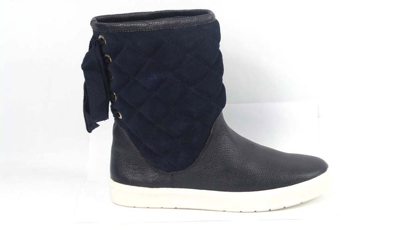 Isaac Mizrahi Live! SOHO Quilted Boots with Back Ribbon Detail Navy - NEW