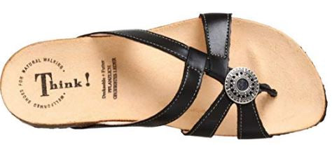 Think Leather Strappy Sandals Julia Black - NEW