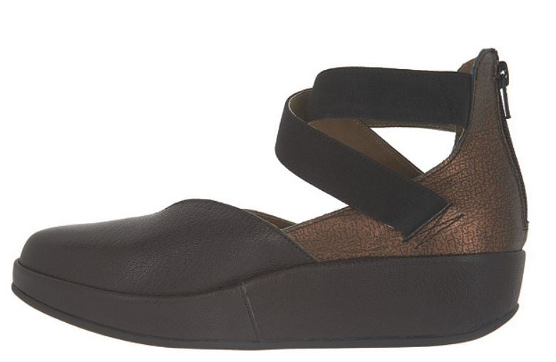 FLY London Leather Mary Jane Wedges Bane Chocolate/Bronze - NEW