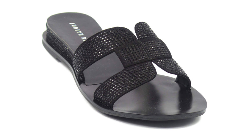 Judith Ripka Embellished Slide Sandals Sloane Black - NEW