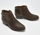 Clarks Collection Leather Booties w/ Buckles Addiy Glady Olive - NEW