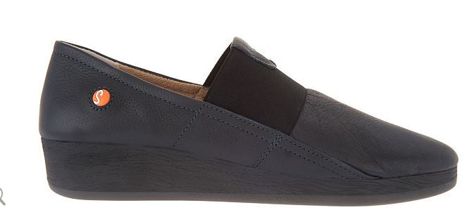 Softinos by FLY London Leather Gored Slip-on Shoes Amo Navy - A