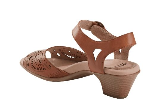Earth Leather Two-Piece Heeled Sandals Carson Westport Alpaca - NEW