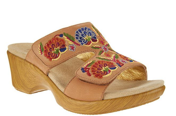 Alegria Embroidered Leather Slip-on Wedge Sandals Linn Cognac Multi - NEW