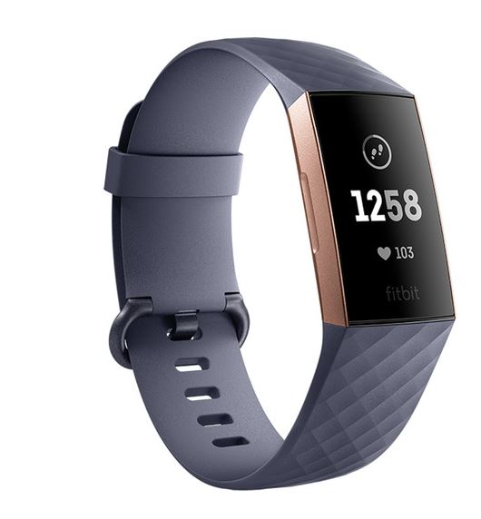 Fitbit Charge 3 FB409RGGY Activity Tracker + Heart Rate Blue Gray/Rose Gold - A