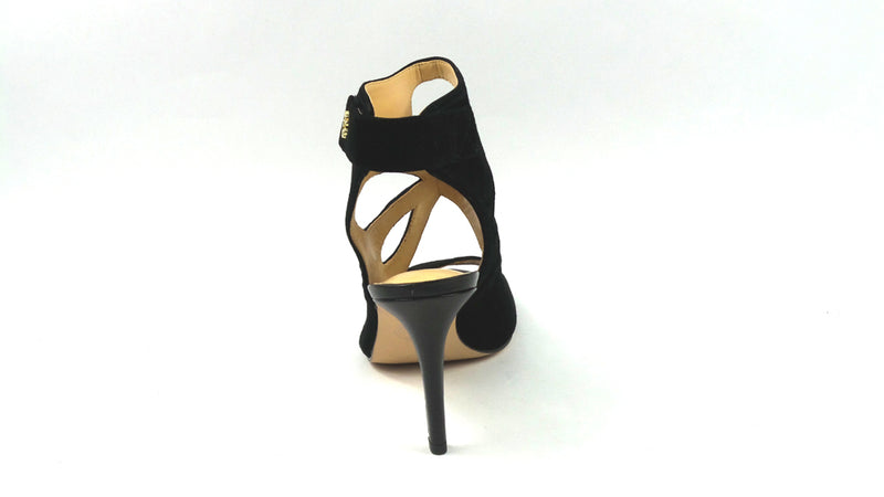 C. Wonder Suede Peep Toe Booties w/ Cutout Design Phoebe Black - A