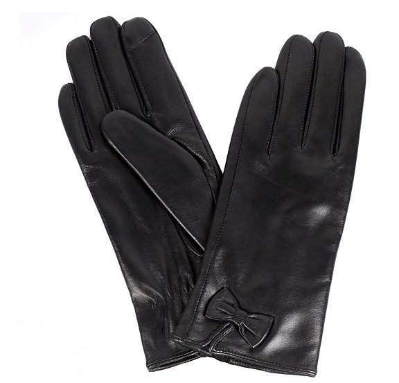 Karla Hanson Women's Leather Touch Screen Gloves with Bow Black - NEW