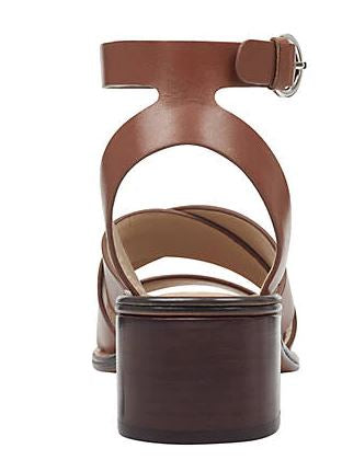 Marc Fisher Leather Block Heeled Sandals Omela Cognac - NEW