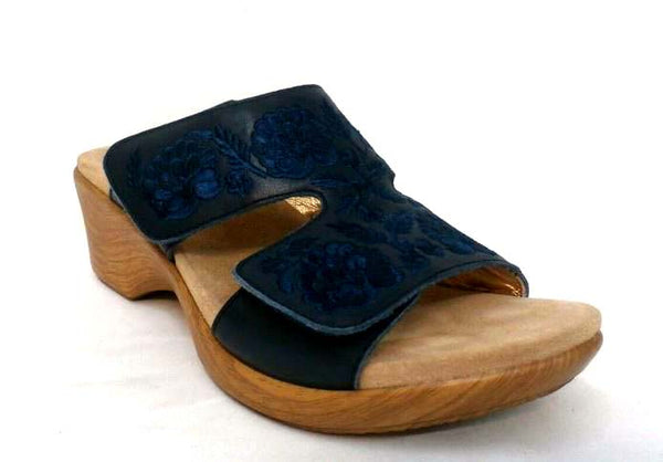 Alegria Embroidered Leather Slip-on Wedge Sandals Linn Navy - NEW