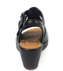 Clarks Unstructured Leather Wedge Sandals Black - NEW